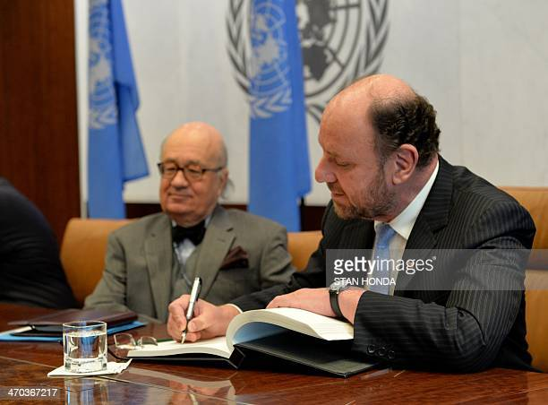 Alfredo Moreno Charme Chile's Foreign Minister signs a guest book before his meeting with United Nations Secretary General Ban KiMoon February 19...