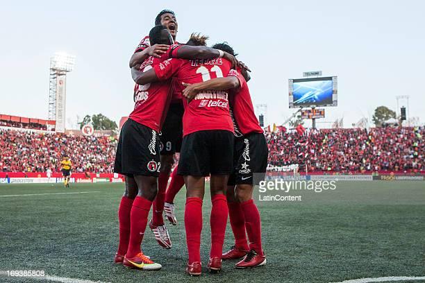 Alfredo Moreno Duvier Riascos and Fidel Martinez celebrate a goal during a match between Xolos and Atletico Mineiro as part of the Copa Bridgestone...