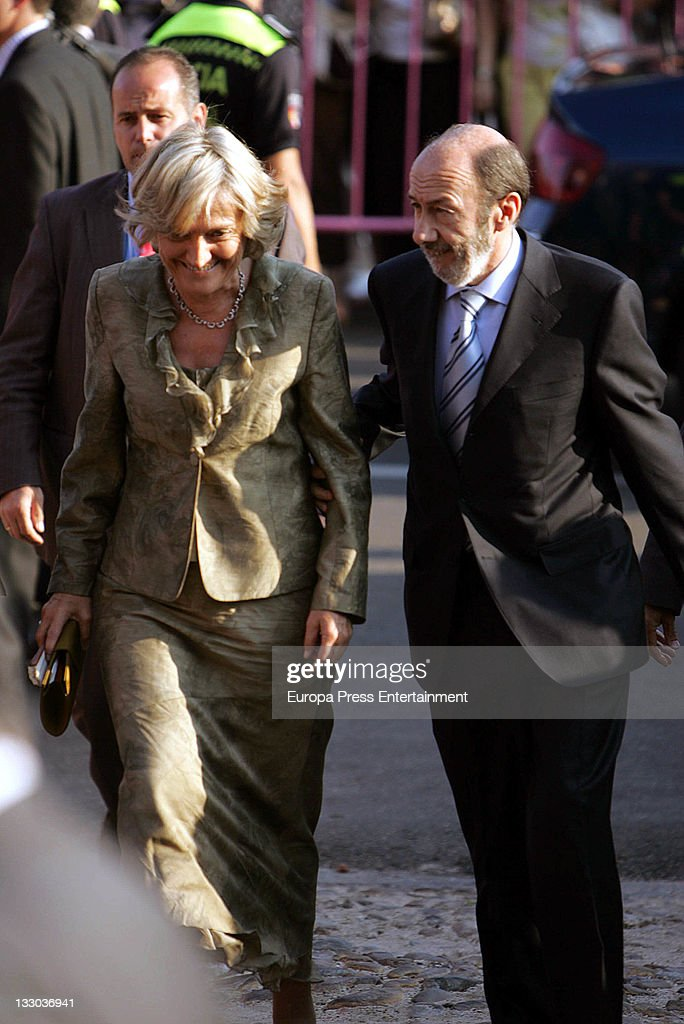 Alfredo Perez Rubalcaba and his wife Pilar Goya attend Manuel Martos and Amelia Bono's wedding on June 27 2008 in Madrid Spain