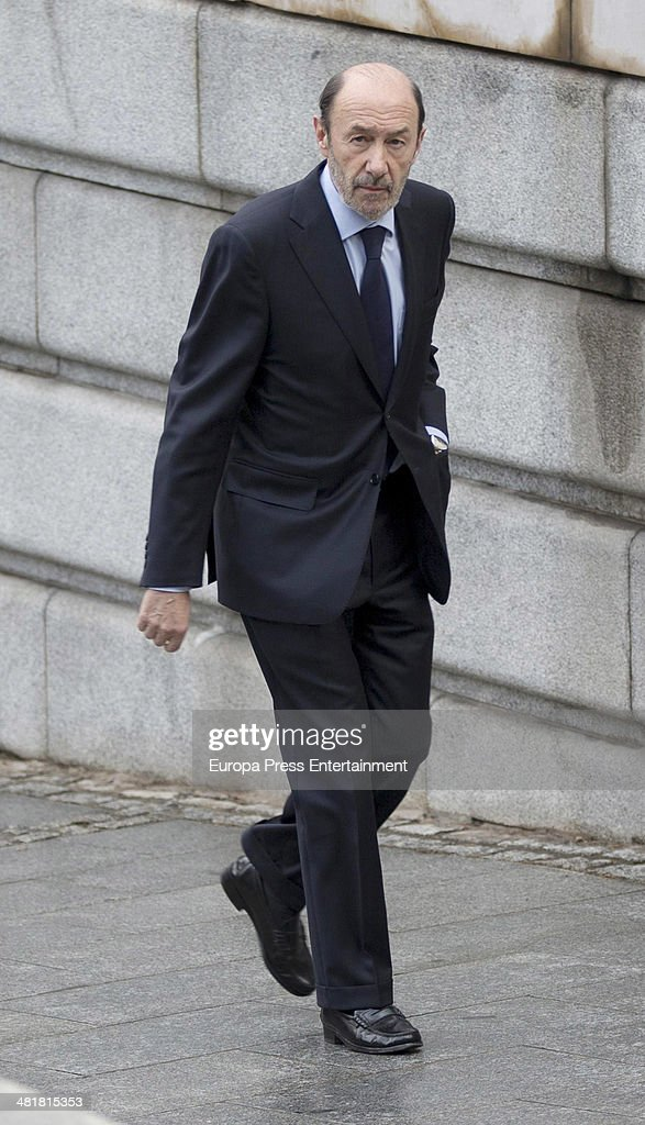 Alfredo Perez Rubalcaba arrives the state funeral ceremony for former Spanish prime minister Adolfo Suarez at the Almudena Cathedral on March 31 2014...