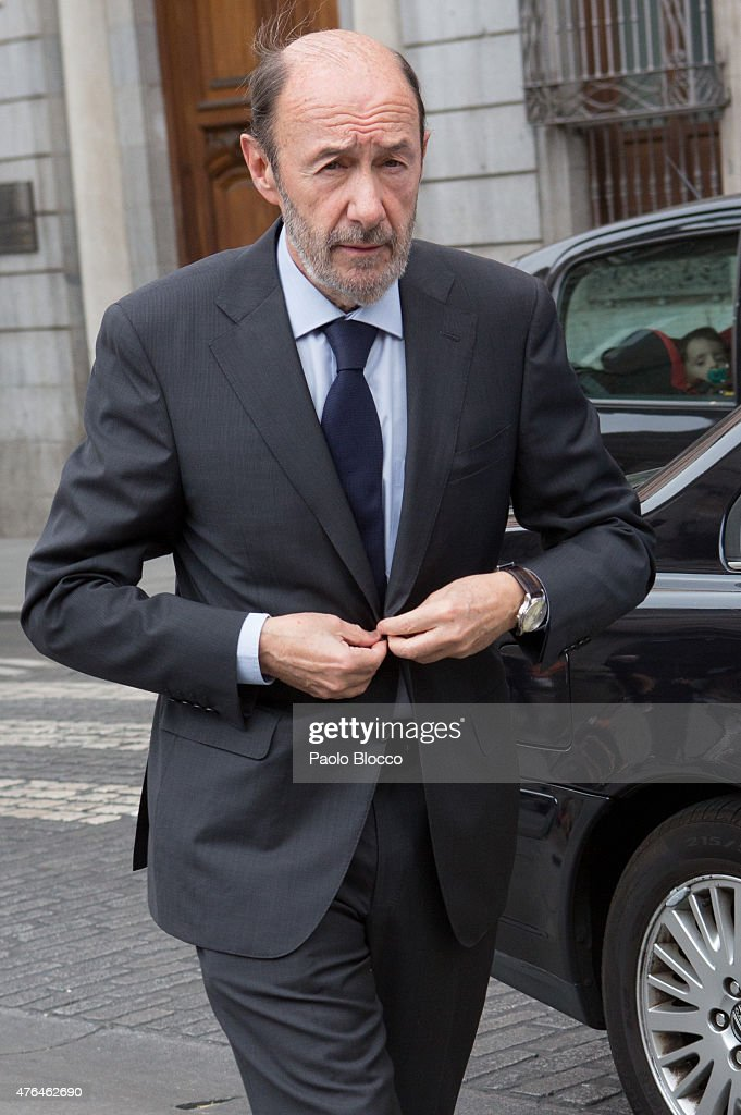 Alfredo Perez Rubalcaba attends the funeral chapel for Pedro Zerolo at Casa de la Villa on June 9 2015 in Madrid Spain