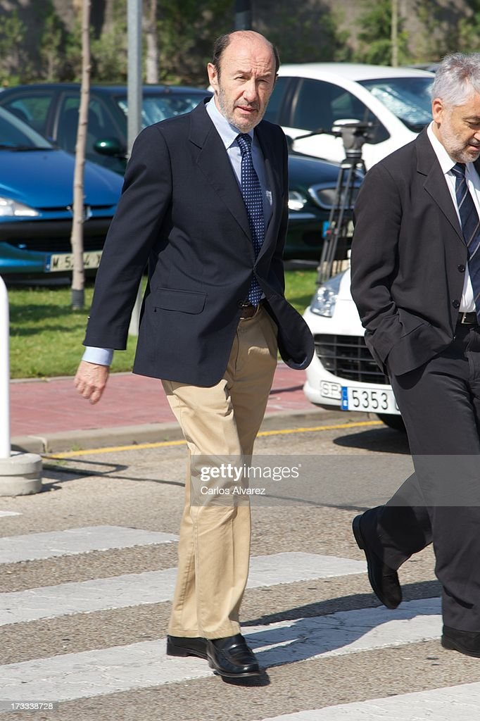 Alfredo Perez Rubalcaba attends the funeral chapel for the journalist Concha Garcia Campoy at La Paz Morgue on July 12 2013 in Madrid Spain