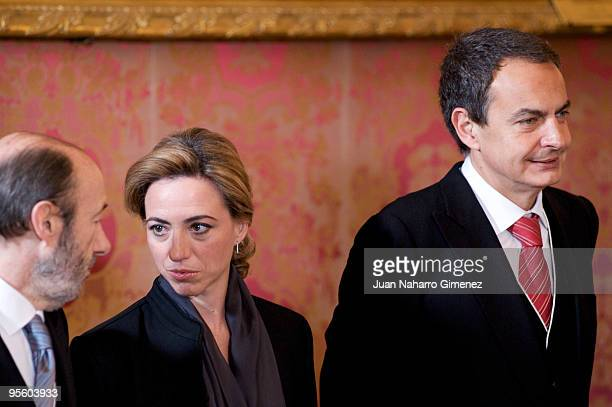 Alfredo Perez Rubalcaba Carme Chacon and Prime Minister of Spain Jose Luis Rodriguez Zapatero attend 'Pascua Militar' at the Royal Palace on January...