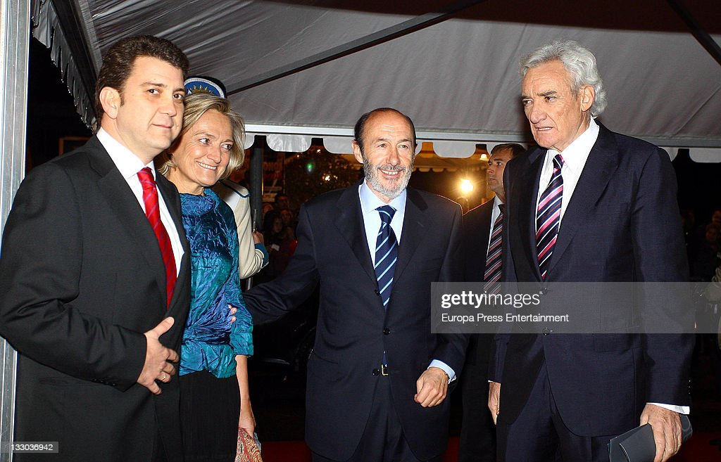Alfredo Perez Rubalcaba his wife Pilar Goya and Luis del Olmo attend Microfonos de Oro Awards on April 19 2008 in Madrid Spain