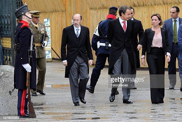Alfredo Perez Rubalcaba Prime Minister Jose Luis Rodriguez Zapatero and Carme Chacon attend the new year Pascua Militar ceremony at The Royal Palace...