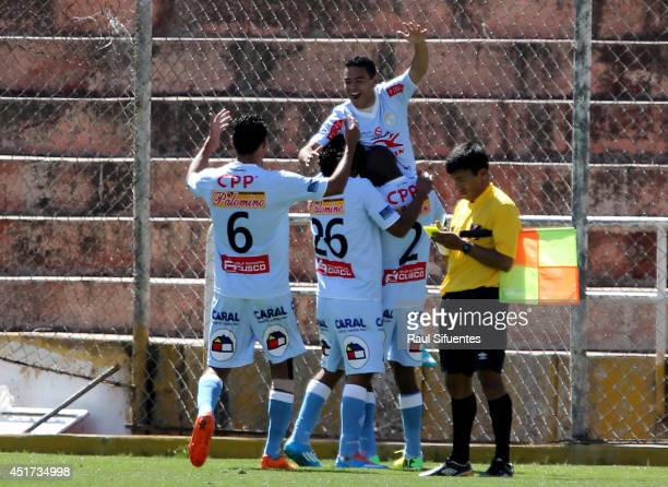 Alfredo Ramua of Real Garcilaso celebrates scoring the second goal of his team against Sporting Cristal during a match between Real Garcilaso and...