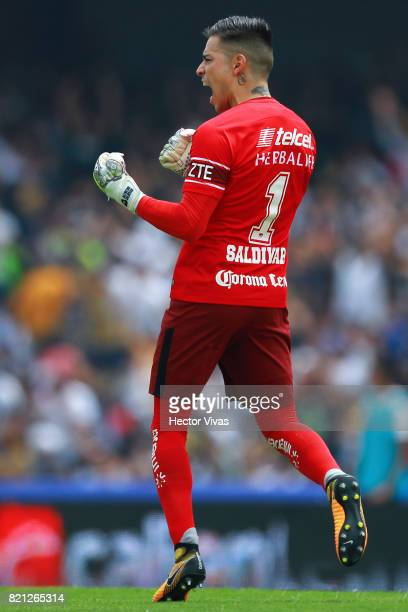 Alfredo Saldivar goalkeeper of Pumas celebrates after Nicolas Castillo scored the opening goal of his team during the 1st round match between Pumas...