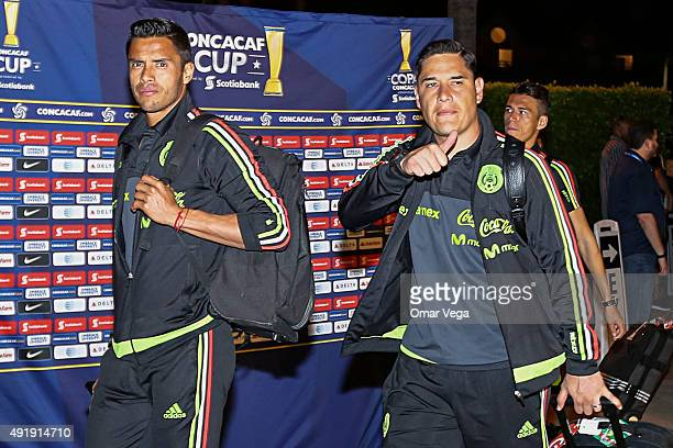 Alfredo Talavera and Moises Munoz goalkeepers of Mexico walk into a hotel during the arrival of Mexican National Team to the United States at The...