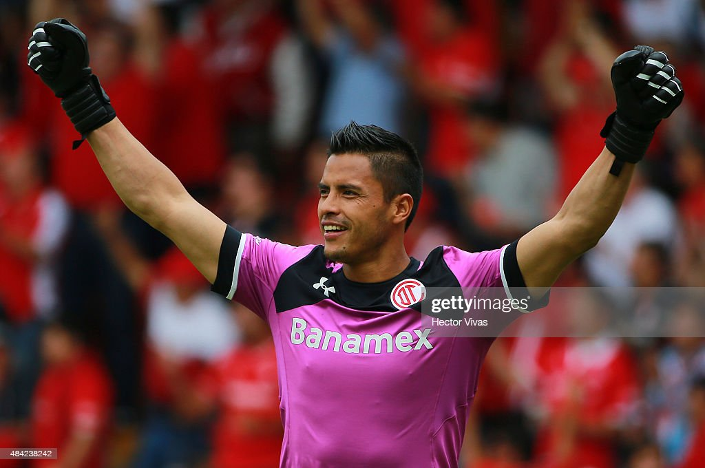 <a gi-track='captionPersonalityLinkClicked' href=/galleries/search?phrase=Alfredo+Talavera&family=editorial&specificpeople=697019 ng-click='$event.stopPropagation()'>Alfredo Talavera</a> goalkeeper of Toluca celebrates after the third goal of his team during a 5th round match between Toluca and Chivas as part of the Apertura 2015 Liga MX at Nemesio Diez Stadium on August 16, 2015 in Toluca, Mexico.