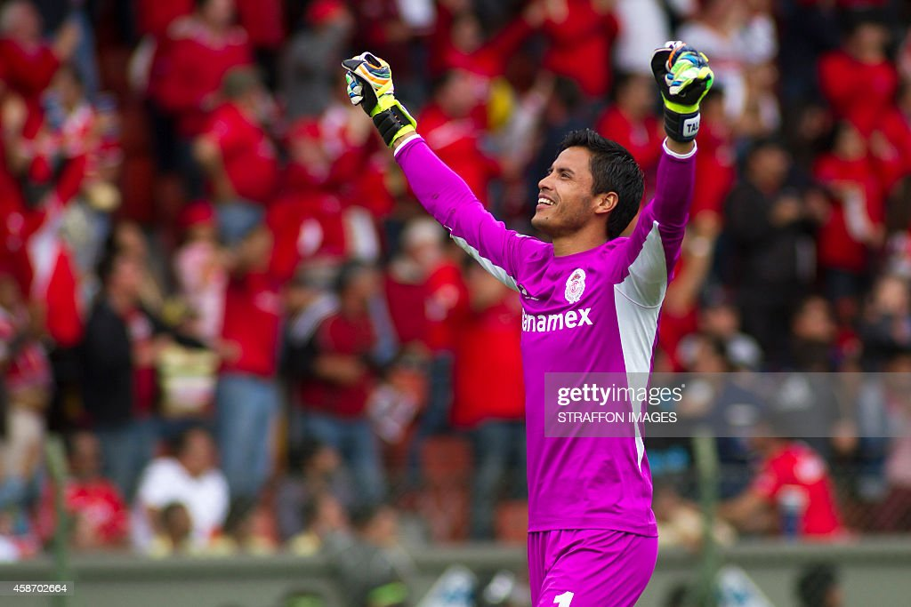 <a gi-track='captionPersonalityLinkClicked' href=/galleries/search?phrase=Alfredo+Talavera&family=editorial&specificpeople=697019 ng-click='$event.stopPropagation()'>Alfredo Talavera</a>, goalkeeper of Toluca, celebrates the second goal of his team during a match between Toluca and America as part of 16th round Apertura 2014 Liga MX at Nemesio Diez Stadium on November 09, 2014 in Toluca, Mexico.