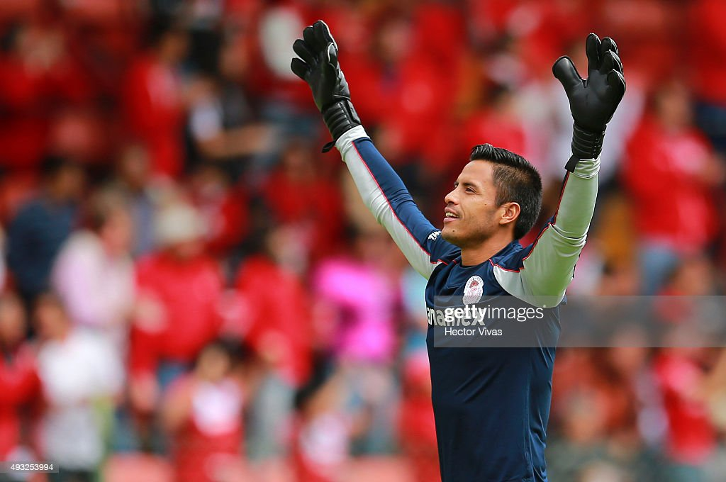 <a gi-track='captionPersonalityLinkClicked' href=/galleries/search?phrase=Alfredo+Talavera&family=editorial&specificpeople=697019 ng-click='$event.stopPropagation()'>Alfredo Talavera</a> goalkeeper of Toluca celebrates the second goal of his team scored by Carlos Esquivel (not in frame) during the 13th round match between Toluca and Queretaro as part of the Apertura 2015 Liga MX at Nemesio Diez Stadium on October 18, 2015 in Toluca, Mexico.