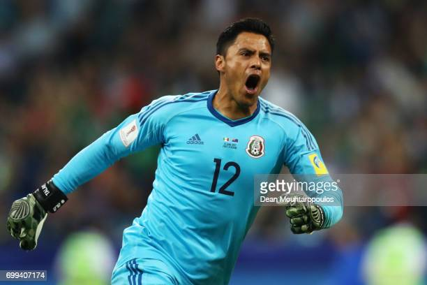 Alfredo Talavera of Mexico celebrates his sides first goal during the FIFA Confederations Cup Russia 2017 Group A match between Mexico and New...