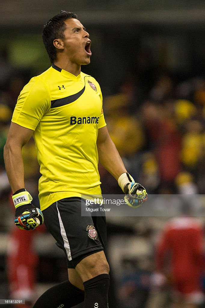 Alfredo Talavera of Toluca celebrates after his team score during a Clausura 2013 Liga MX match between America and Toluca at Azteca Stadium on February 16, 2013 in Mexico City, Mexico.