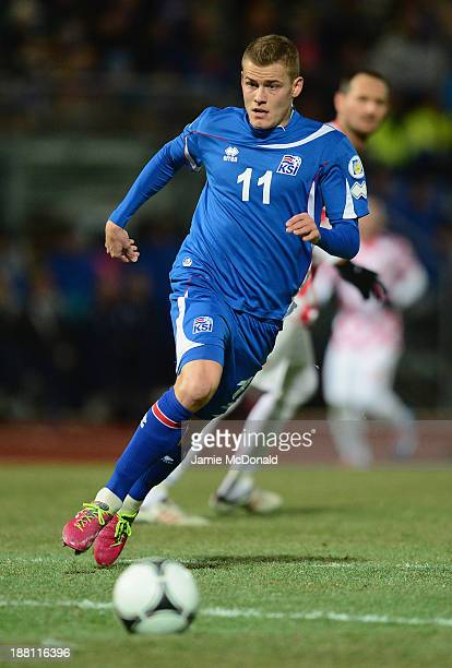 Alfreo Finnbogson of Iceland in action during the FIFA 2014 World Cup Qualifier Playoff First Leg match between Iceland and Croatia at the...