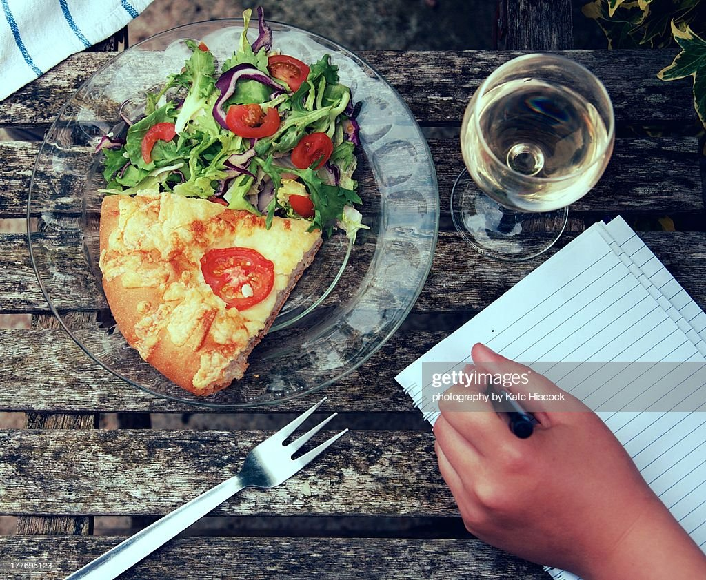 alfresco dining and letter writing : Stock Photo