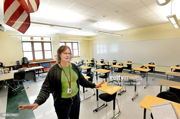 Algebra and geometry teacher Rose Kennealy is excited about her classroom in the new South Portland High School addition Friday January 2014