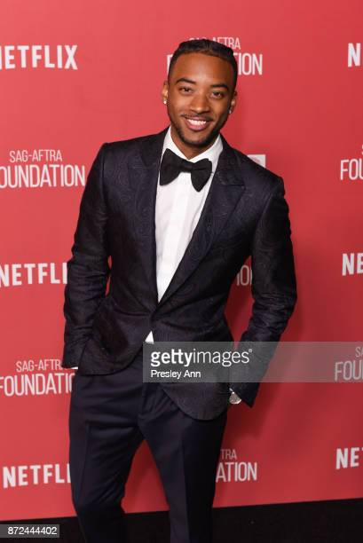 Algee Smith attends SAGAFTRA Foundation Patron of the Artists Awards 2017 Arrivals at Wallis Annenberg Center for the Performing Arts on November 9...