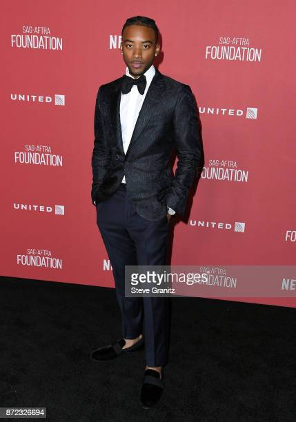 Algee Smith attends the SAGAFTRA Foundation Patron of the Artists Awards 2017 at the Wallis Annenberg Center for the Performing Arts on November 9...