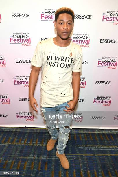 Algee Smith poses in the press room at the 2017 ESSENCE Festival presented by CocaCola at Ernest N Morial Convention Center on July 2 2017 in New...