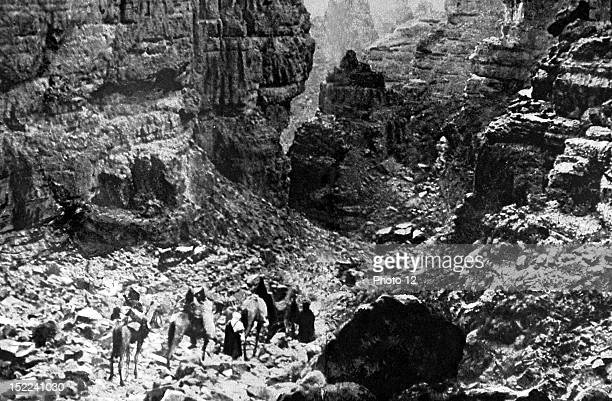 Algeria Bruneau de Laborie's expedition in Sahara The convoy entering into the depths of Asafao gorges at the south of the Azdjer Tassili region...