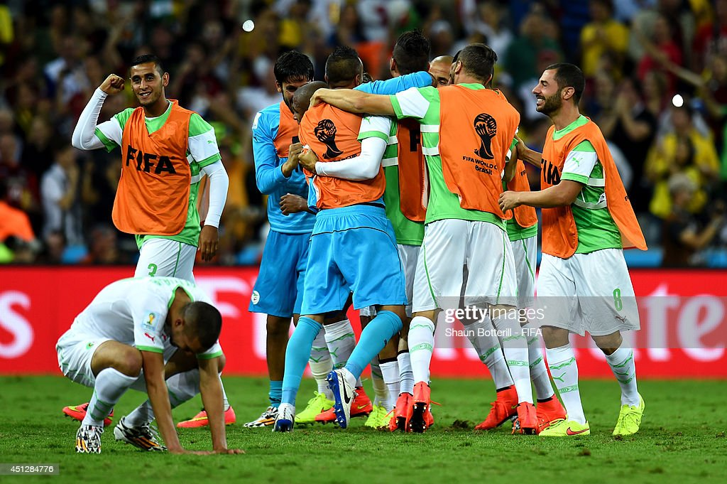 Algeria celebrate scoring their team's first goal during the 2014 FIFA World Cup Brazil Group H match between Algeria and Russia at Arena da Baixada on June 26, 2014 in Curitiba, Brazil.