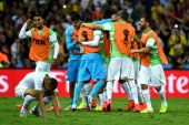 Algeria celebrate scoring their team's first goal during the 2014 FIFA World Cup Brazil Group H match between Algeria and Russia at Arena da Baixada...