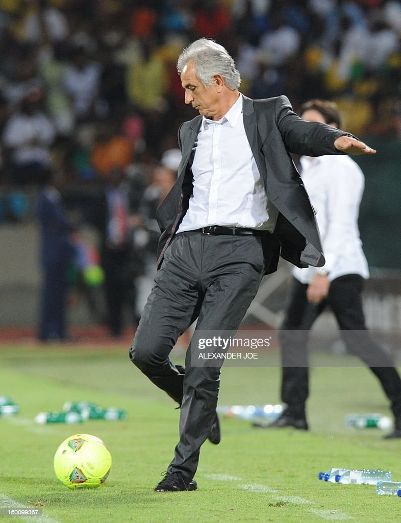 Algeria Coach Vahid Halilhodzic kicks a ball during the Africa Cup of Nations during a 2013 African Cup of Nations in Rustenburg on January 26, 2013 at Royal Bafokeng Stadium in a Group D match.