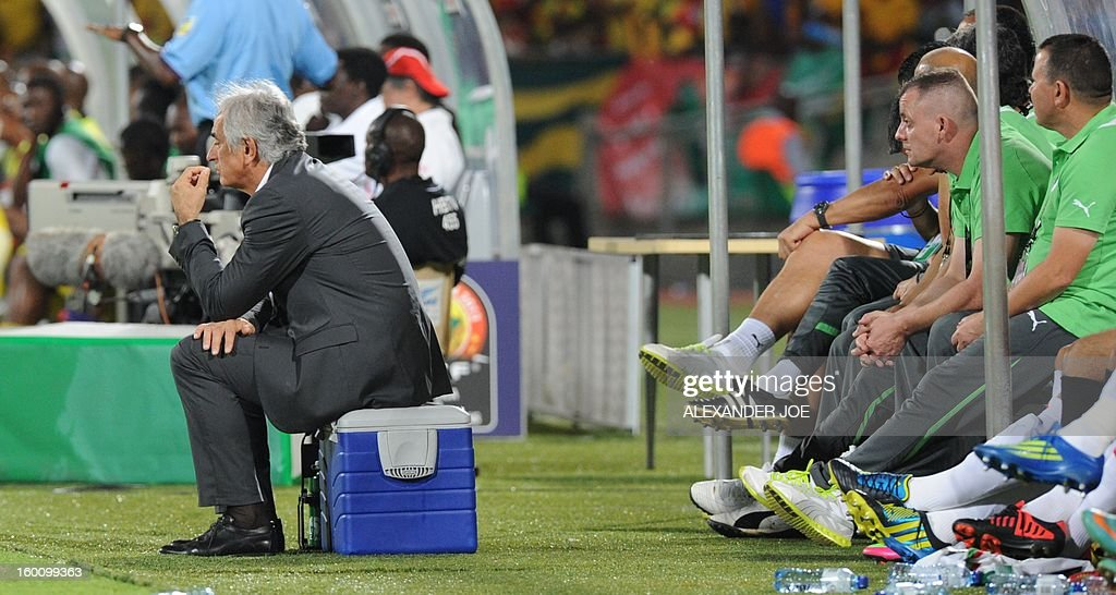Algeria Coach Vahid Halilhodzic sits during the Africa Cup of Nations during a 2013 African Cup of Nations in Rustenburg on January 26, 2013 at Royal Bafokeng Stadium in a Group D match. AFP PHOTO / ALEXANDER JOE
