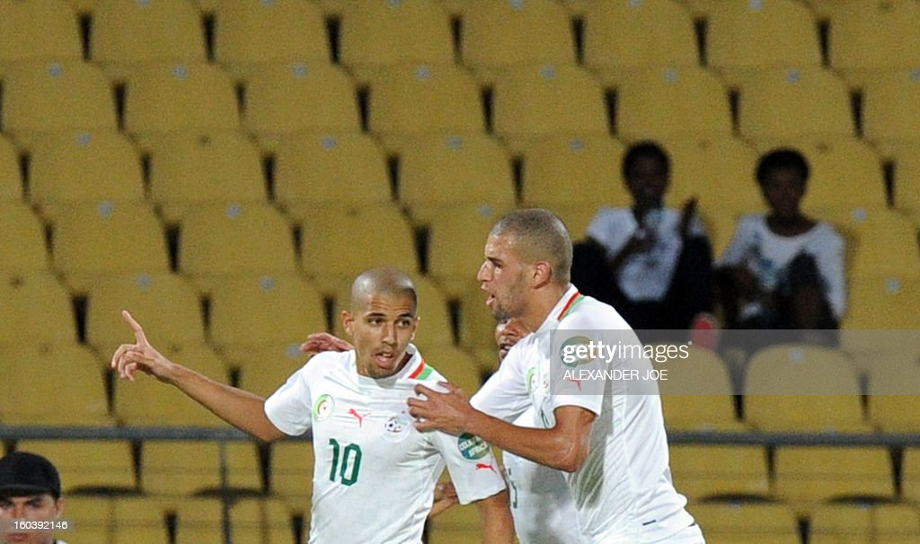Algeria midfielder Sofiane Feghouli celebrates after scoring a goal against Ivory Coast on January 30, 2013 during a 2013 African Cup of Nations Group D football match at the Royal Bafokeng stadium in Rustenburg. JOE