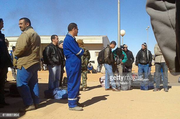IN AMENAS Algeria Photo taken secretly on Jan 16 by one of the Algerians held hostage at a gas plant in In Amenas shows Algerian workers standing...