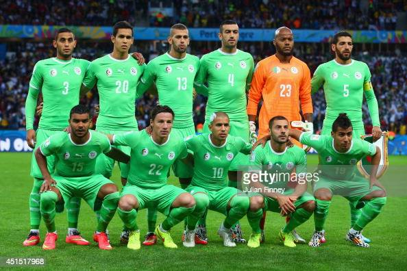 Algeria players pose for a team photo during the 2014 FIFA World Cup Brazil Round of 16 match between Germany and Algeria at Estadio BeiraRio on June...