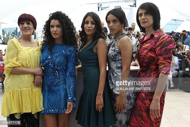 Algerian actress Biyouna French actress Sabrina Ouazani French actress Leila Bekhti French actress Hafsia Herzi and actress Hiam Abbas pose during...
