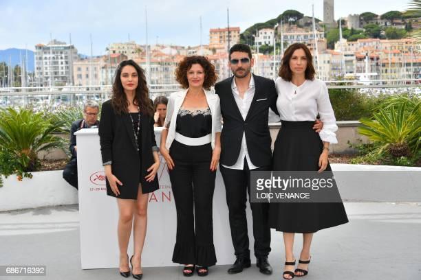 Algerian actress Hania Amar Algerian actress Nadia Kaci Algerian director Karim Moussaoui and French actress Aure Atika pose on May 22 2017 during a...