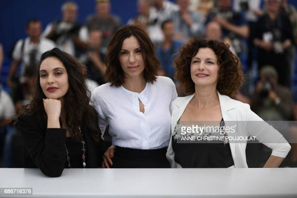 Algerian actress Hania Amar French actress Aure Atika and Algerian actress Nadia Kaci pose on May 22 2017 during a photocall for the film 'Until the...
