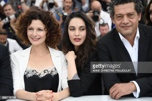 Algerian actress Nadia Kaci Algerian actress Hania Amar and Algerian actor Hassan Kachach pose on May 22 2017 during a photocall for the film 'Until...