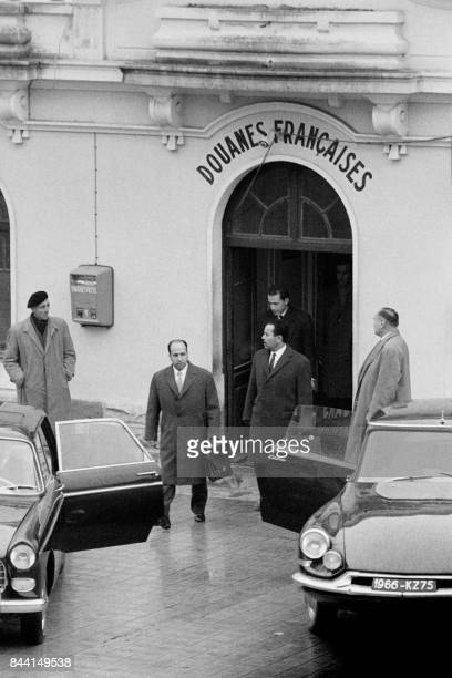 Algerian delegation Belkacem Krim Foreign Affairs minister Saad Dahlab and Secretary general of the presidency of the provisional government of the...
