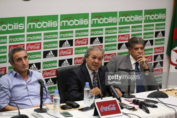 Algerian football legend Rabah Madjer new national coach of Soccer attends host a conference at the SidiMoussa National Technical Center in Algiers...