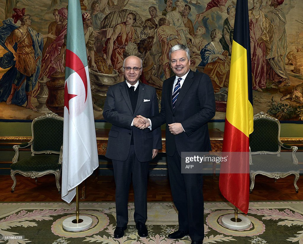 Algerian Foreign Minister Mourad Medelci (L) shakes hands with Belgian Foreign Minister Didier Reynders during a meeting at the Egmont Palace in Brussels, on December 5, 2012. AFP PHOTO/BELGA/PHOTO DIRK WAEM -Belgium Out-