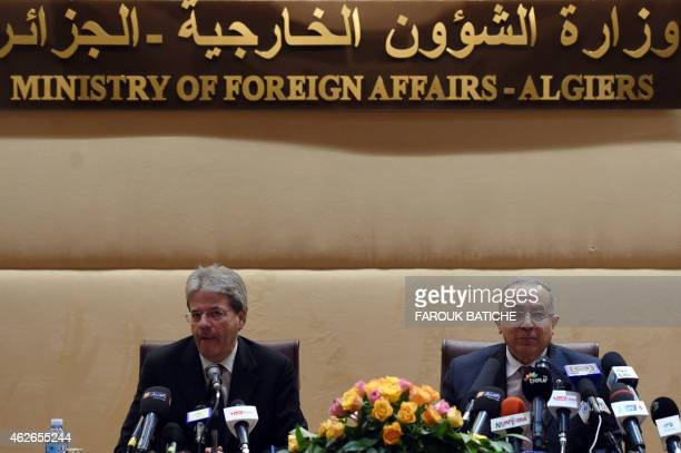 Algerian Foreign Minister Ramtane Lamamra and his Italian counterpart Paolo Gentiloni give a joint press conference after a meeting on February 2...
