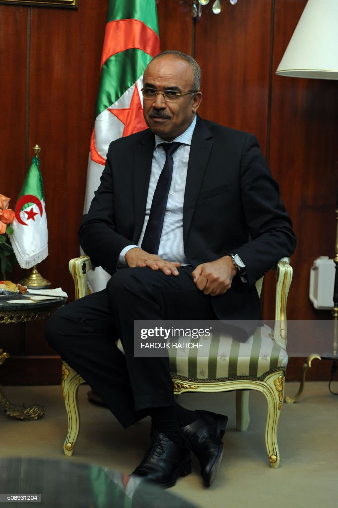 Algerian Interior and Territorial Collectivities Minister Noureddine Bedoui meet with Paris' mayor on February 7, 2016 in the capital Algiers. Mayor of Paris Anne Hidalgo started a two-day work visit in Algeria. / AFP / Farouk Batiche