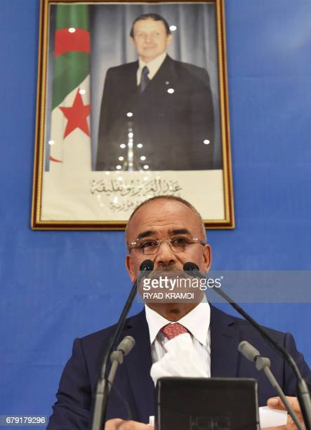 Algerian Interior and Territorial Collectivities Minister Noureddine Bedoui announces the results of the country's legislative elections in Algiers...