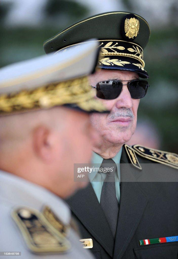 Algerian Major General Ahmed Boustila, commander of the National Gendarmerie of Algeria, attends the funeral of the late Algerian president Chadli Bendjedid ... - algerian-major-general-ahmed-boustila-commander-of-the-national-of-picture-id153648756