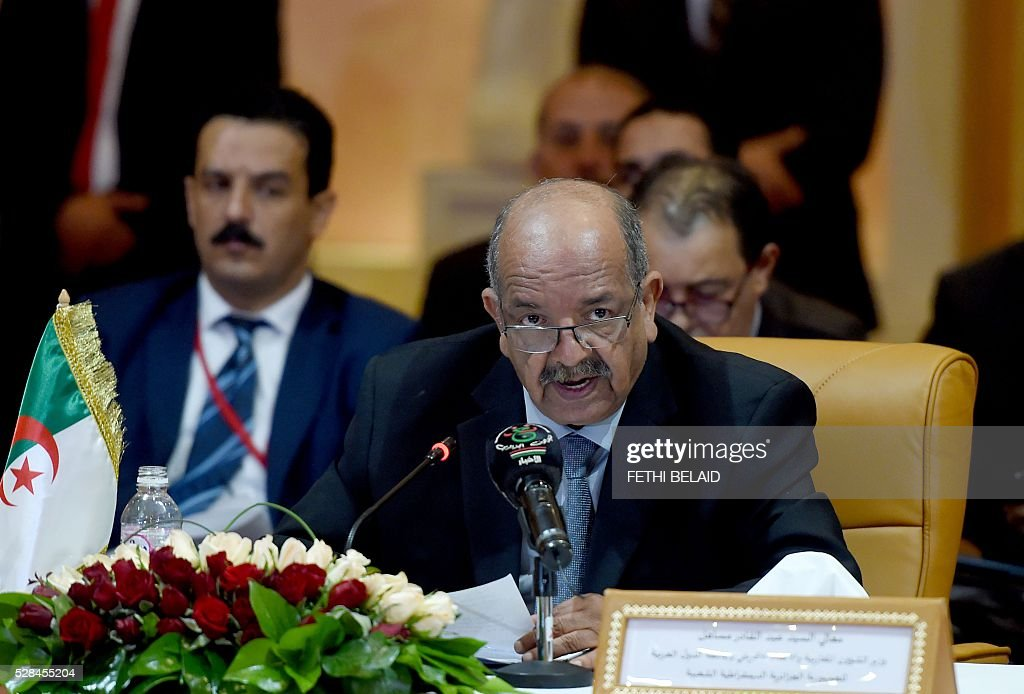 Algerian Minister for Maghreb Affairs, African Union and Arab League countries, Abdelkader Messahel speaks during the 34th Council of Foreign Ministers from the Arab Maghreb Union (UMA) on May 5, 2016 in Tunis. / AFP / FETHI
