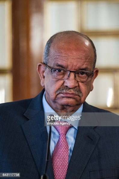 Algerian Minister for Maghreb and Africa Affairs Abdel Kadir Mesahil attends a joints press conference with Egyptian Foreign Minister Sameh Shoukry...
