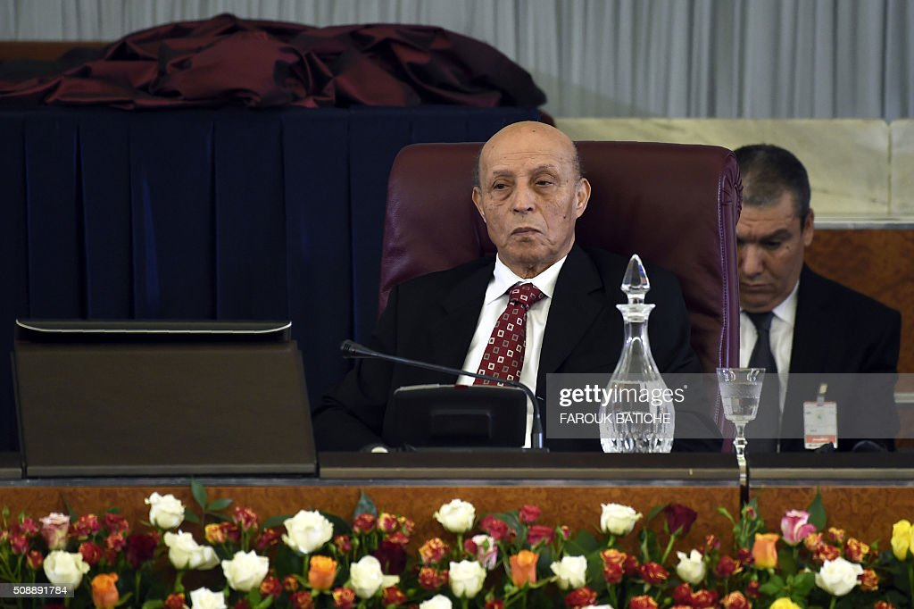 Algerian National Assembly President (Lower House of Parliament), Larbi Ould Khelifa, chairs a parliamentary session to adopt a package of constitutional reforms on February 7, 2016, in the capital Algiers. Algeria's parliament adopted the constitutional reforms that authorities say will strengthen democracy, but opponents doubt it will bring real change. The reforms are meant to address longstanding public grievances in the North African nation, and possibly to prepare for a smooth transition amid concerns over the health of 78-year-old President Abdelaziz Bouteflika. / AFP / Farouk Batiche