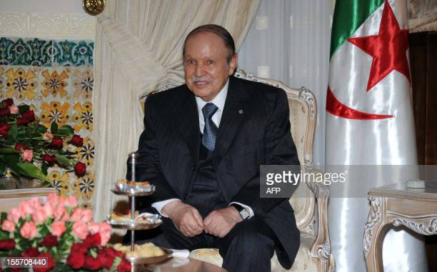 Algerian President Abdelaziz Bouteflika attends a meeting with UN envoy for Western Sahara Christopher Ross in Algiers as part of the latter's tour...