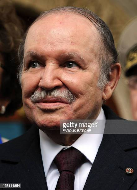 Algerian President Abdelaziz Bouteflika attends a meeting with US General Carter Ham who heads the US Africa Command in Algiers on September 30 2012...