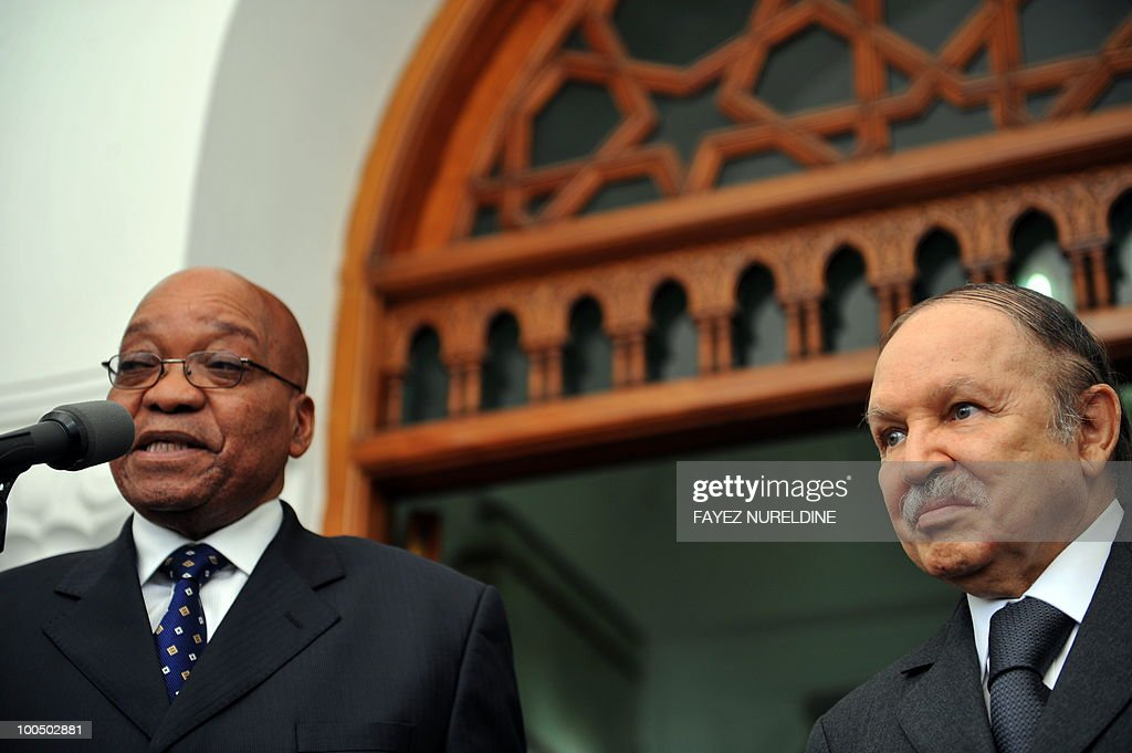 Algerian President Abdelaziz Bouteflika (R) listens to his South African counterpart Jacob Zuma during a press conference at the Presidential Palace, on May 25, 2010 in Algiers. Zuma is on a two-day official visit to Algeria.