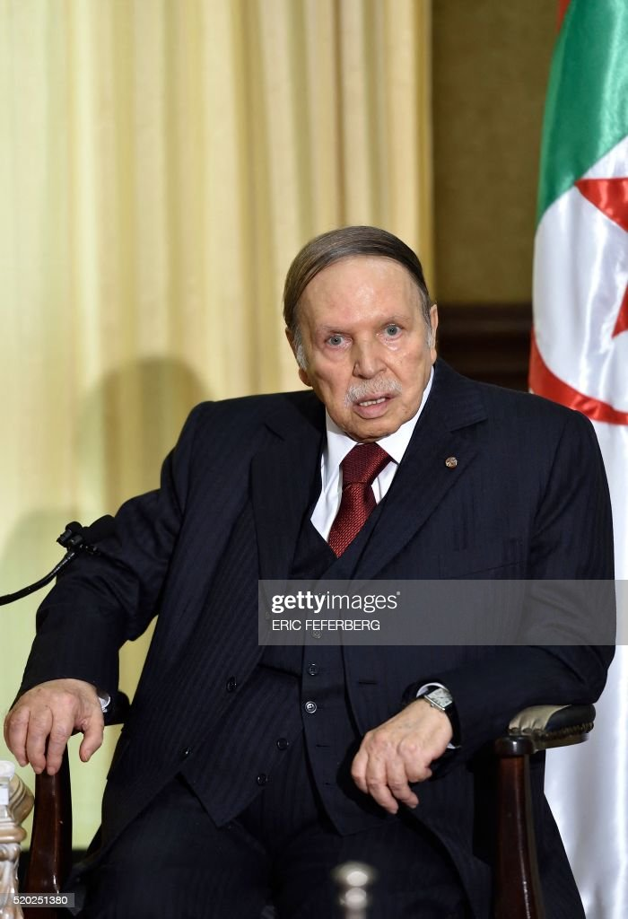 Algerian President <a gi-track='captionPersonalityLinkClicked' href=/galleries/search?phrase=Abdelaziz+Bouteflika&family=editorial&specificpeople=176720 ng-click='$event.stopPropagation()'>Abdelaziz Bouteflika</a> looks on as he meets the French prime minister at his residence during an official visit on April 10, 2016 in Zeralda, a suburb of the capital Algiers. Algeria accused Le Monde newspaper Sunday of 'gratuitously' damaging its president's image, as French Prime Minister Manuel Valls sought to resolve a row that threatens to overshadow key trade deals. / AFP / Eric Feferberg