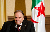 Algerian President Abdelaziz Bouteflika meets with his French counterpart Francois Hollande at the Zeralda private residence on June 15 in Algiers...